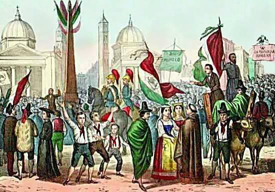 Domus Mazziniana Pisa - 170° Repubblica Romana Rossetti_-_Proclamazione_della_Repubblica_Romana_nel_1849_in_Piazza_del_Popolo_-_1861-1